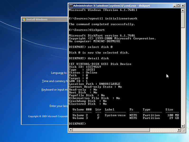 Output of diskpart in Windows Setup after initializing network.