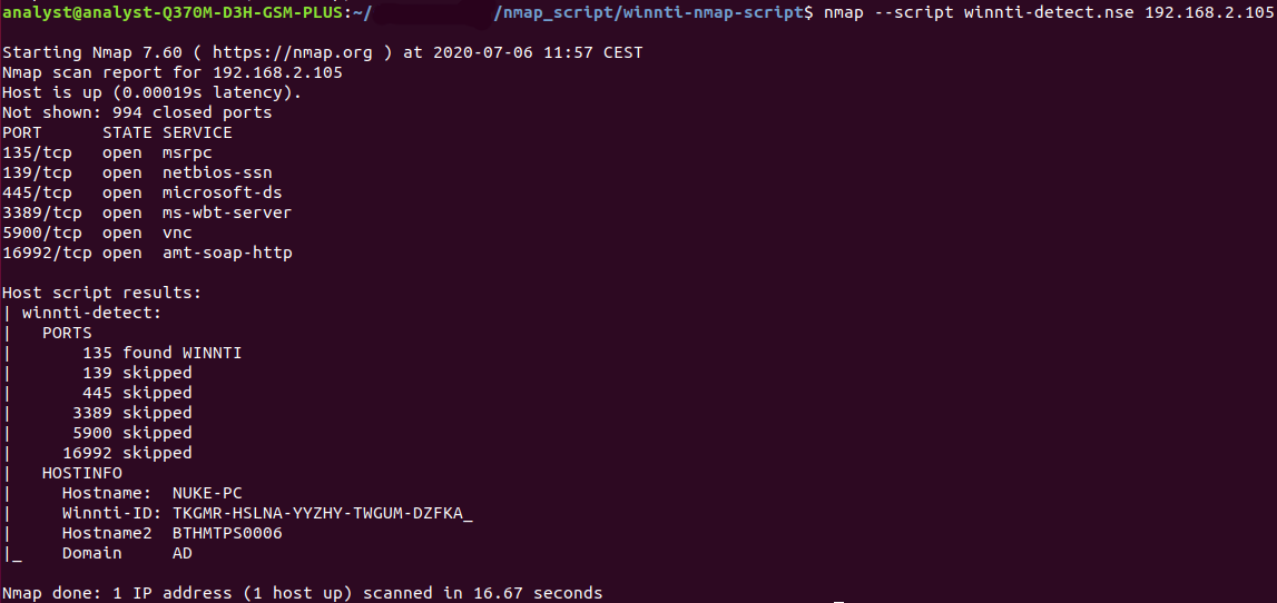 This image shows successful output of the nmap script.