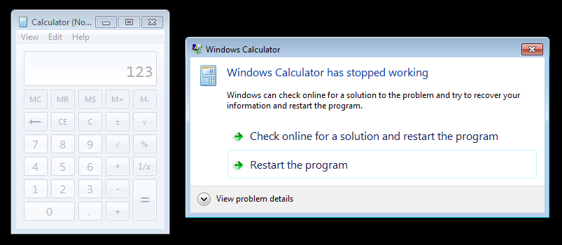 calc.exe is being killed by Windows after we sent it a page fault via Tycho